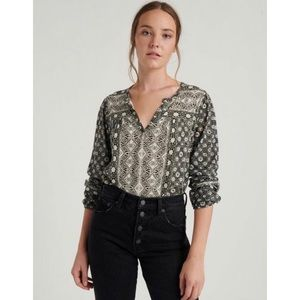 Lucky Brand Plus Size Long Sleeve Printed Top